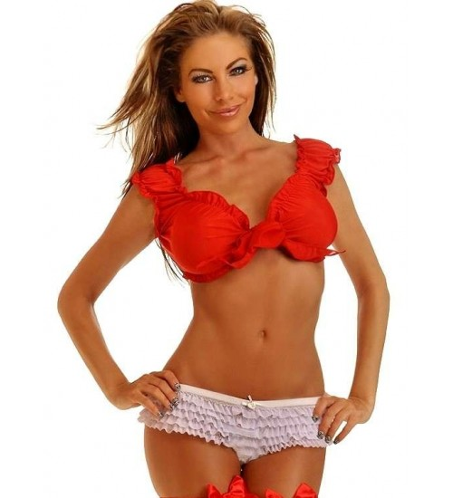 Tie Front Red Peasant Crop Top at CrossDress Fashions,  Womens Clothing for Crossdressers, TG, Female Impersonators