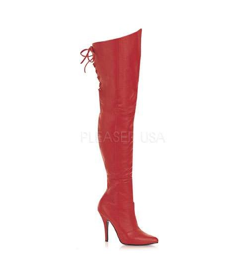 Legend Red Lace up Back Leather Thigh High Boot at CrossDress Fashions,  Womens Clothing for Crossdressers, TG, Female Impersonators