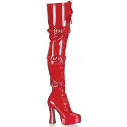 Electra Red Buckled Thigh High Platform Boots CrossDress Fashions  Womens Clothing for Crossdressers, TG, Female Impersonators