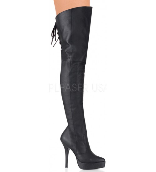 Indulge Leather Thigh High Platform Boot at CrossDress Fashions,  Womens Clothing for Crossdressers, TG, Female Impersonators