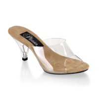 Belle Clear and Tan Peep Toe Slide