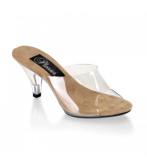 Belle Clear and Tan Peep Toe Slide at CrossDress Fashions,  Womens Clothing for Crossdressers, TG, Female Impersonators