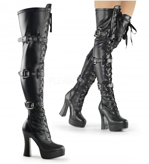 Electra Black Buckled Thigh High Platform Boots at CrossDress Fashions,  Womens Clothing for Crossdressers, TG, Female Impersonators