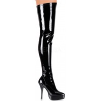 Black Indulge Faux Patent Leather Stiletto Heel Boot