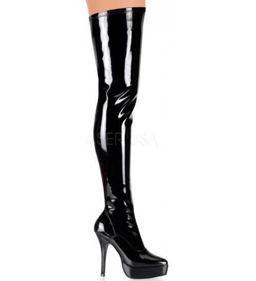 Black Indulge Faux Patent Leather Stiletto Heel Boot at CrossDress Fashions,  Womens Clothing for Crossdressers, TG, Female Impersonators