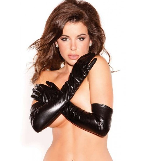 Wet Look Lycra Opera Gloves at CrossDress Fashions,  Womens Clothing for Crossdressers, TG, Female Impersonators