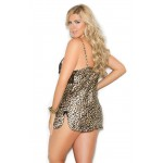 Leopard Print Satin Chemise with Lace Cups