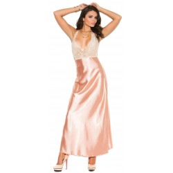 Peaches and Cream Charmeuse Satin Halter Gown
