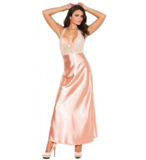 Peaches and Cream Charmeuse Satin Halter Gown at CrossDress Fashions,  Womens Clothing for Crossdressers, TG, Female Impersonators