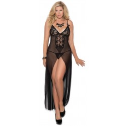 Black Long Mesh Slit Front Gown CrossDress Fashions  Womens Clothing for Crossdressers, TG, Female Impersonators