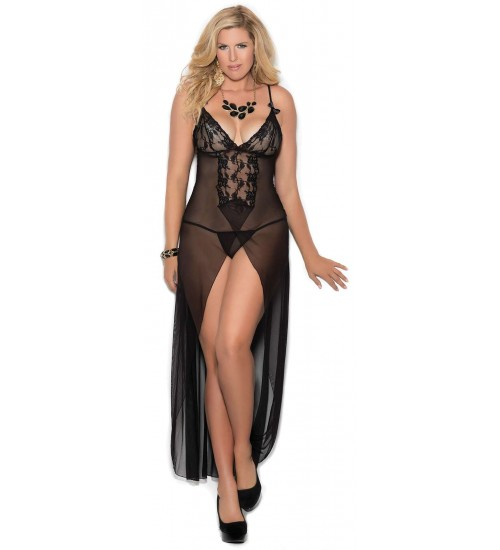 Black Long Mesh Slit Front Gown at CrossDress Fashions,  Womens Clothing for Crossdressers, TG, Female Impersonators