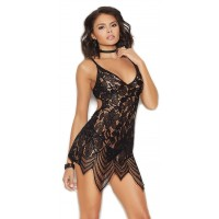 Draped Black Lace Chemise