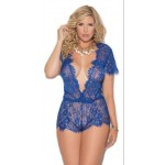 Blue Short Sleeve Lace Romper at CrossDress Fashions,  Womens Clothing for Crossdressers, TG, Female Impersonators