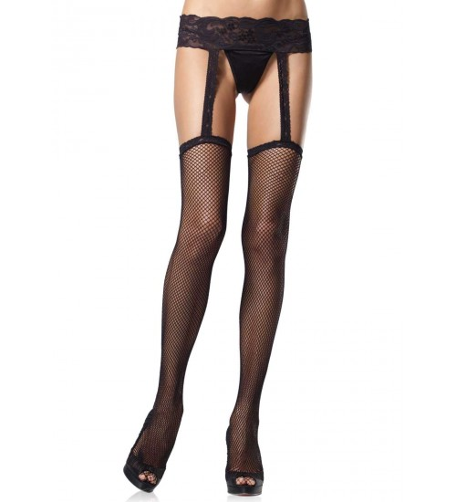 Black Fishnet Suspender Stockings  - Pack of 3