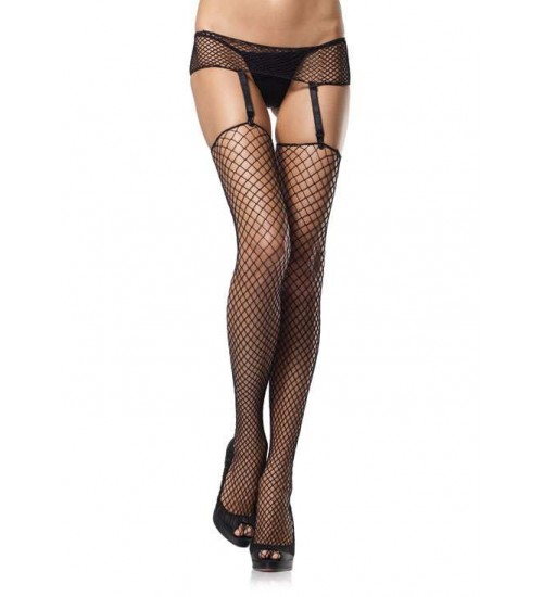Black Industrial Net Garter Belt and Stockings Set at CrossDress Fashions,  Womens Clothing for Crossdressers, TG, Female Impersonators