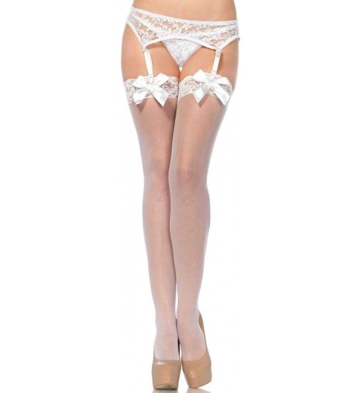Satin Bow Lace Top Thigh High Garter Stockings at CrossDress Fashions,  Womens Clothing for Crossdressers, TG, Female Impersonators