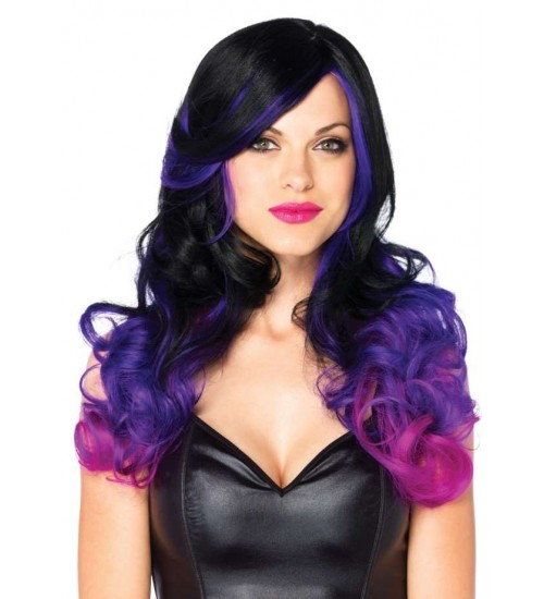 Allure Black Wig with Purple Tips at CrossDress Fashions,  Womens Clothing for Crossdressers, TG, Female Impersonators
