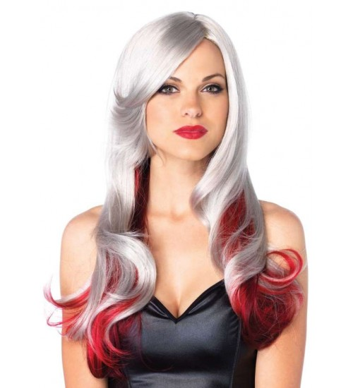 Allure Gray Wig with Red Tips at CrossDress Fashions,  Womens Clothing for Crossdressers, TG, Female Impersonators