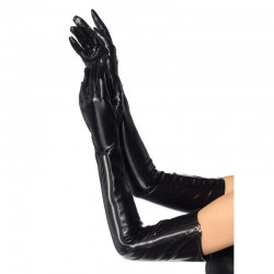 Black Wet Look Lycra Zipper Opera Gloves CrossDress Fashions  Womens Clothing for Crossdressers, TG, Female Impersonators