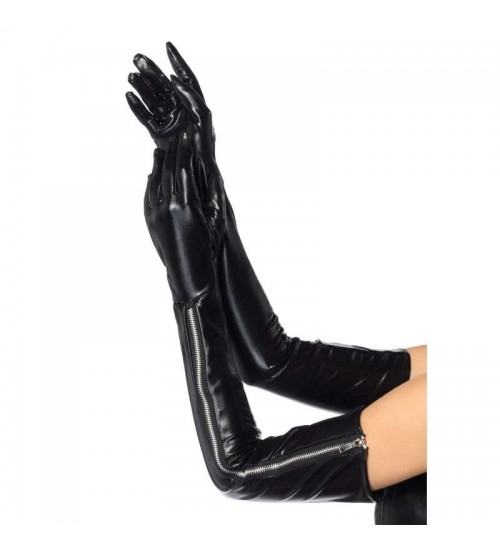 Black Wet Look Lycra Zipper Opera Gloves at CrossDress Fashions,  Womens Clothing for Crossdressers, TG, Female Impersonators
