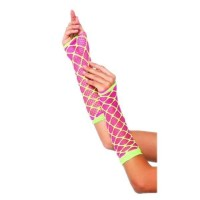 Dual Neon Net Pink and Lime Green Arm Warmers
