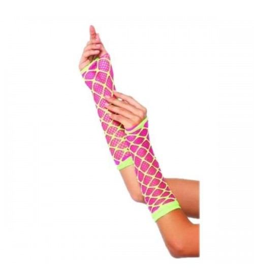 Dual Neon Net Pink and Lime Green Arm Warmers at CrossDress Fashions,  Womens Clothing for Crossdressers, TG, Female Impersonators