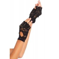 Black Lace Keyhole Back Fingerless Gloves