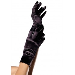 Black Wrist Length Satin Gloves CrossDress Fashions  Womens Clothing for Crossdressers, TG, Female Impersonators
