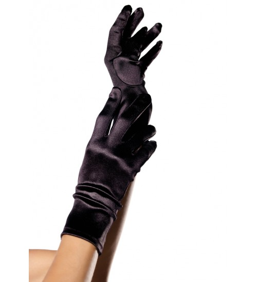 Black Wrist Length Satin Gloves at CrossDress Fashions,  Womens Clothing for Crossdressers, TG, Female Impersonators