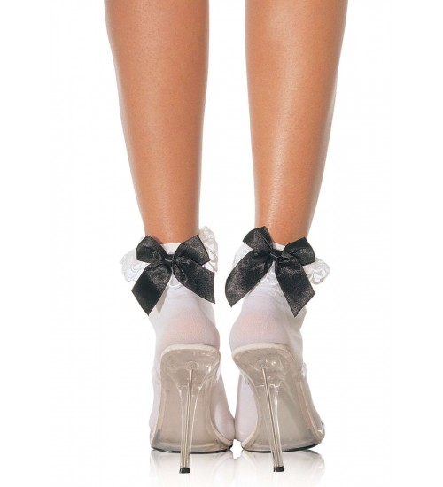 Bow and Lace Ruffle Trimmed Anklet Socks at CrossDress Fashions,  Womens Clothing for Crossdressers, TG, Female Impersonators