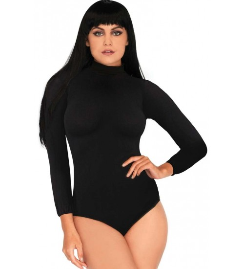 Black High Neck Long Sleeve Bodysuit at CrossDress Fashions,  Womens Clothing for Crossdressers, TG, Female Impersonators