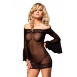 Off the Shoulder Lace Trimmed Mesh Chemise at CrossDress Fashions,  Womens Clothing for Crossdressers, TG, Female Impersonators