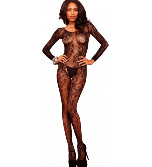 Black Swirl Lace Bodystocking at CrossDress Fashions,  Womens Clothing for Crossdressers, TG, Female Impersonators