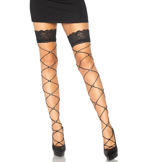 Crystalized Open Net Thigh Highs at CrossDress Fashions,  Womens Clothing for Crossdressers, TG, Female Impersonators