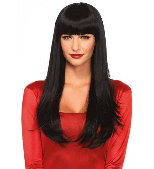 Black Banging Long Straight Wig at CrossDress Fashions,  Womens Clothing for Crossdressers, TG, Female Impersonators