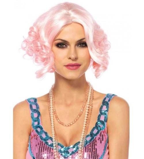 Pink Curly Bob Short Wig at CrossDress Fashions,  Womens Clothing for Crossdressers, TG, Female Impersonators