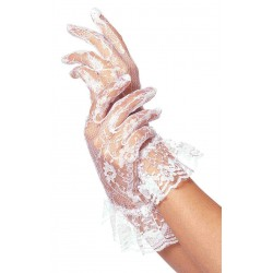White Ruffled Lace Wrist Length Gloves CrossDress Fashions  Womens Clothing for Crossdressers, TG, Female Impersonators