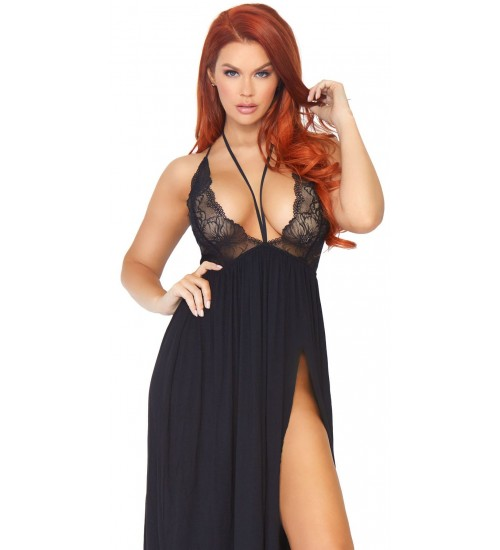 Black Brushed Jersey Nightgown at CrossDress Fashions,  Womens Clothing for Crossdressers, TG, Female Impersonators
