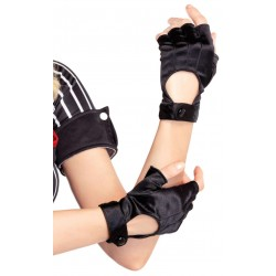 Fingerless Black Snap Satin Gloves CrossDress Fashions  Womens Clothing for Crossdressers, TG, Female Impersonators