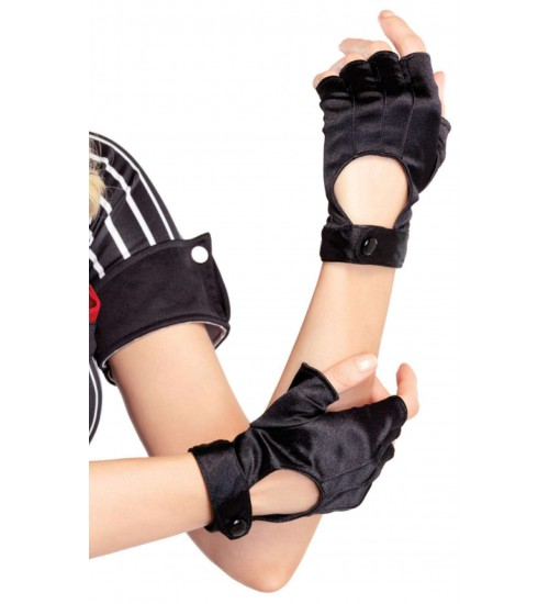 Fingerless Black Snap Satin Gloves at CrossDress Fashions,  Womens Clothing for Crossdressers, TG, Female Impersonators