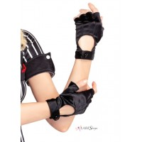 Fingerless Black Motorcycle Gloves