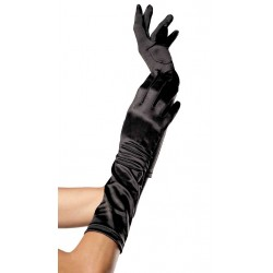 Black Satin Elbow Length Gloves CrossDress Fashions  Womens Clothing for Crossdressers, TG, Female Impersonators