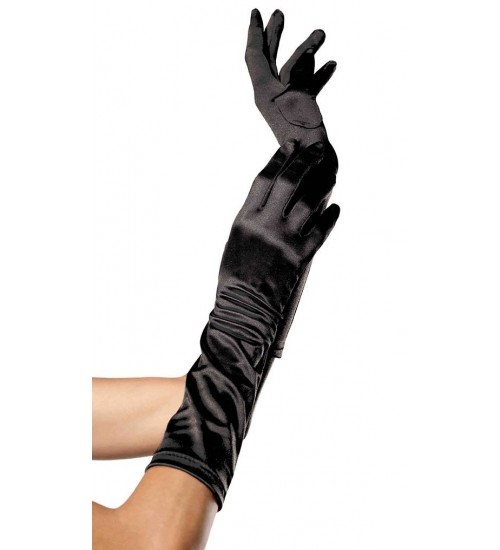 Black Satin Elbow Length Gloves at CrossDress Fashions,  Womens Clothing for Crossdressers, TG, Female Impersonators