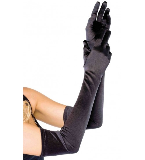 Satin Extra Long Black Opera Gloves at CrossDress Fashions,  Womens Clothing for Crossdressers, TG, Female Impersonators