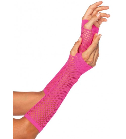 Neon Pink Triangle Net Fingerless Gloves at CrossDress Fashions,  Womens Clothing for Crossdressers, TG, Female Impersonators
