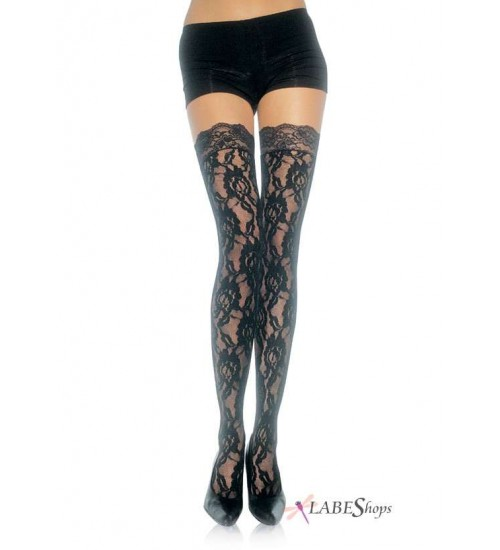 Black Rose Lace Thigh High Stockings at CrossDress Fashions,  Womens Clothing for Crossdressers, TG, Female Impersonators
