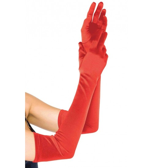 Red Satin Extra Long Opera Gloves at CrossDress Fashions,  Womens Clothing for Crossdressers, TG, Female Impersonators