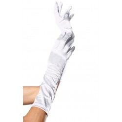 White Satin Elbow Length Gloves CrossDress Fashions  Womens Clothing for Crossdressers, TG, Female Impersonators
