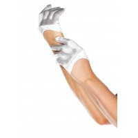 Cropped Satin White Half Glove