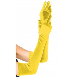 Yellow Satin Extra Long Opera Gloves CrossDress Fashions  Womens Clothing for Crossdressers, TG, Female Impersonators